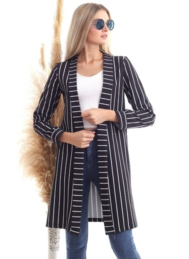 Cottonmood 20343264 Atlas Çizgili Uzun Ceket Siyah Beyaz Çizgili Siyah